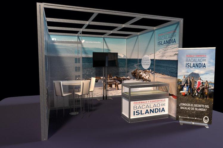 portfolio eventos producción de eventos bacalao islandia stand modular 3d diseño