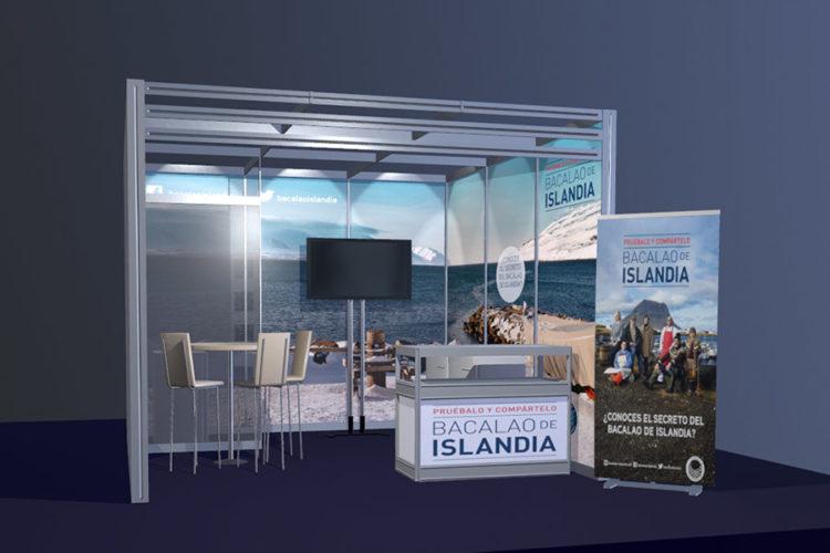 portfolio eventos producción de eventos bacalao islandia stand modular 3d frente