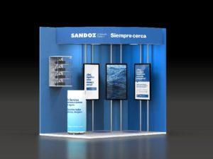sandoz stand congreso semergen 2020 3d frontal 300x225 - Módulos Stands Para Ferias