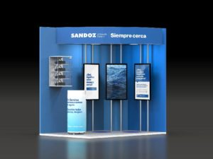 sandoz stand congreso semergen 2020 3d frontal 300x225 - Diseño de stands en Vallehermoso