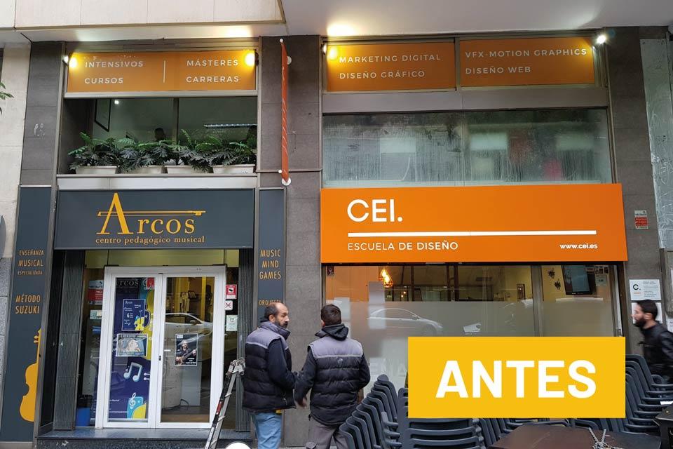 servicios rotulacion locales diseno produccion cei antes - Rotulación de oficinas en Rejas