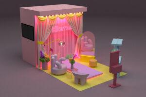 portfolio eventos klarna mbfw 3d diagonal espejo 300x200 - Diseño de stands en Comillas
